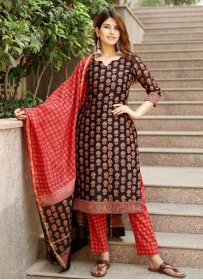 Astonishing Printed Chanderi Black Pant Style Suit
