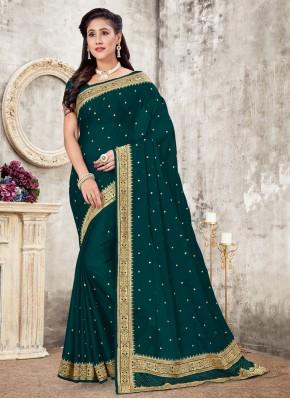 Astounding Embroidered Silk Classic Designer Saree