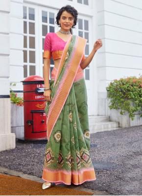 Astounding Weaving Green Classic Designer Saree