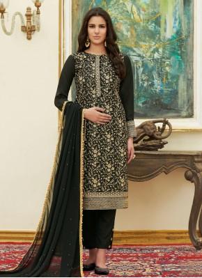 Attractive Black Satin Pant Style Suit