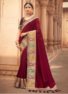 Attractive Embroidered Silk Traditional Designer Saree