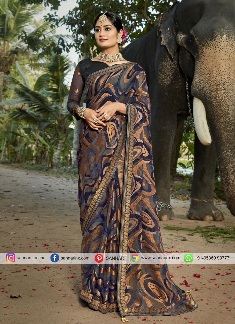 Attractive Faux Chiffon Multi Colour Printed Saree