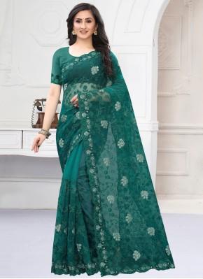 Attractive Net Green Designer Saree