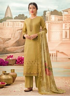 Attractive Silk Green Designer Pakistani Suit