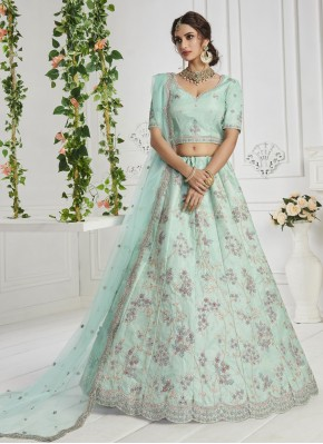 Attractive Silk Thread Work Turquoise Lehenga Choli