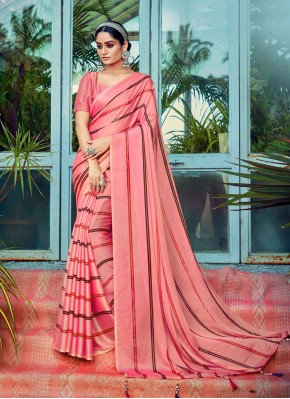 Attractive Stripe Print Pink Printed Saree