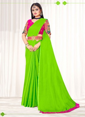 Auspicious Embroidered Faux Chiffon Green Classic Designer Saree
