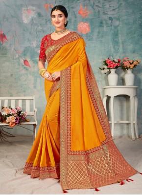 Auspicious Embroidered Mustard Traditional Designer Saree