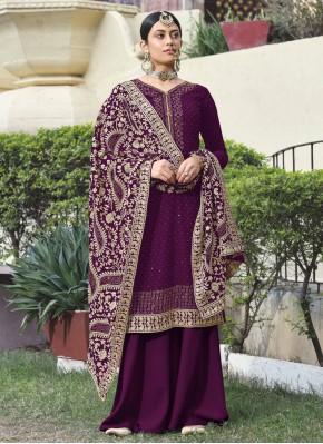 Auspicious Faux Georgette Embroidered Purple Designer Palazzo Suit