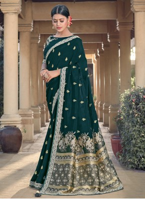 Auspicious Green Festival Traditional Designer Saree
