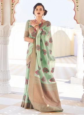 Auspicious Green Linen Classic Designer Saree