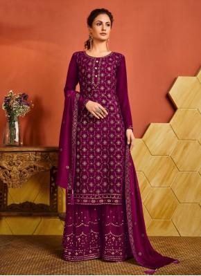 Auspicious Magenta Fancy Faux Chiffon Designer Palazzo Suit