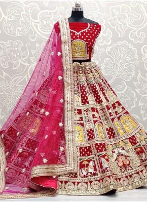 Auspicious Patch Border Velvet Pink Lehenga Choli