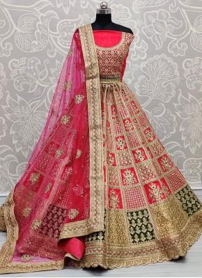 Auspicious Pink Patch Border Silk Lehenga Choli