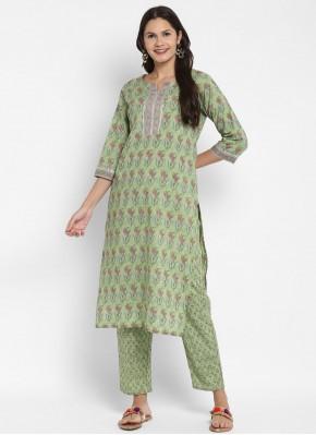 Auspicious Print Cotton Green Party Wear Kurti
