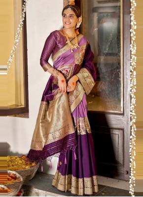 Auspicious Purple Designer Traditional Saree