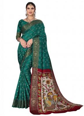 Auspicious Rama Printed Traditional Designer Saree