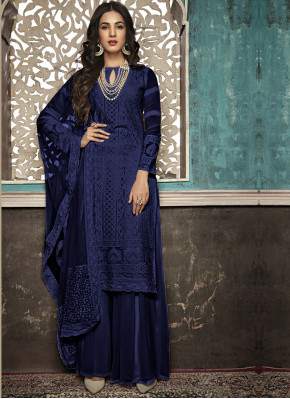 Authentic Chiffon Lucknowi work Un-Stitched Suit Material