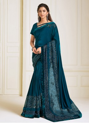 Awesome Lycra Teal Embroidered Trendy Saree