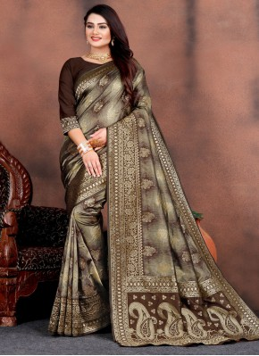 Awesome Weaving Silk Brown Traditional Saree