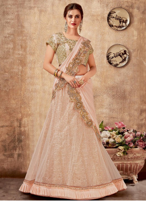 Baby Pink Net Zari Worked Lehenga Saree with Frill Border