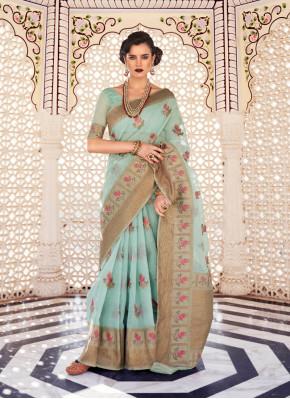 Beautiful saree in Linen Banarasi Silk