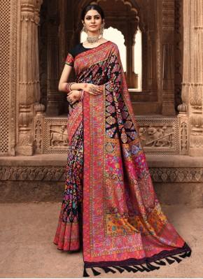 Banarasi Silk Black Weaving Designer Traditional Saree