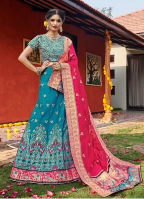 Banarasi Silk Blue Weaving Lehenga Choli