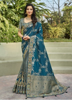 Banarasi Silk Designer Half N Half Saree in Grey and Rama