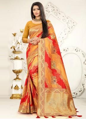 Banarasi Silk Designer Traditional Saree in Mustard and Red