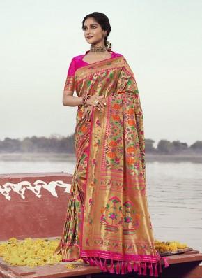 Banarasi Silk Designer Traditional Saree in Rani