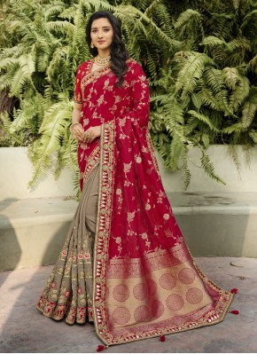 Banarasi Silk Embroidered Red Classic Designer Saree