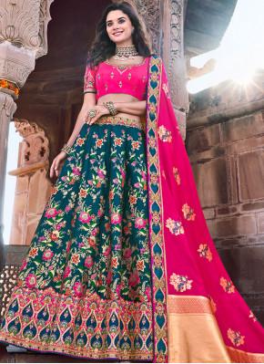 Banarasi Silk Embroidered Trendy Lehenga Choli in Teal