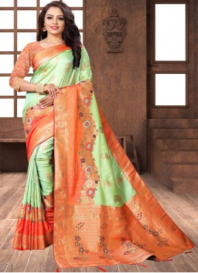 Banarasi Silk Green and Orange Designer Traditional Saree