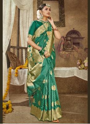 Banarasi Silk Green Designer Traditional Saree