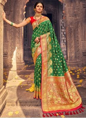 Banarasi Silk Green Traditional Designer Saree