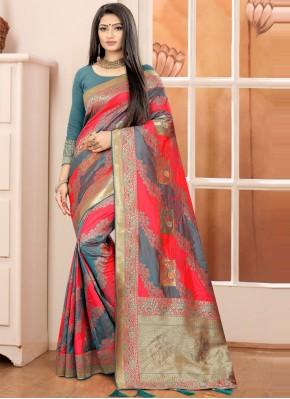 Banarasi Silk Grey and Red Traditional Designer Saree