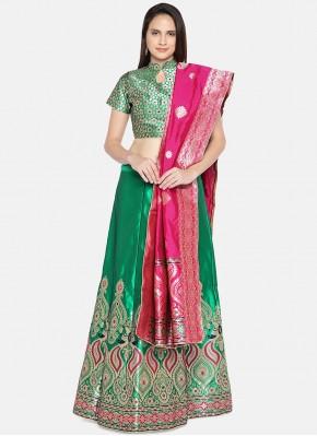 Banarasi Silk Lehenga Choli in Green