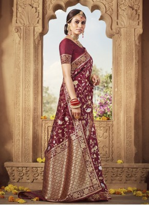 Banarasi Silk Magenta Weaving Designer Traditional Saree