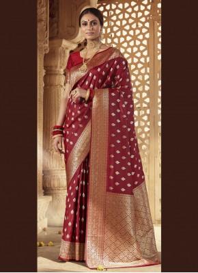 Banarasi Silk Maroon Weaving Designer Traditional Saree