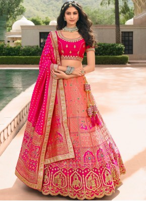 Banarasi Silk Pink Zari Trendy Lehenga Choli