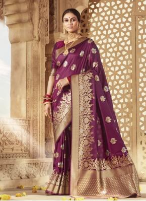 Banarasi Silk Purple Weaving Designer Traditional Saree