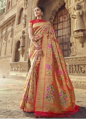 Banarasi Silk Red Traditional Designer Saree