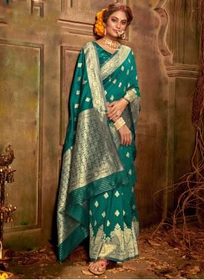 Banarasi Silk Teal Weaving Classic Saree
