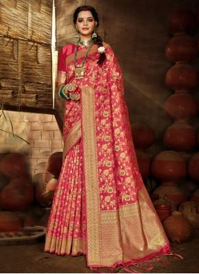 Banarasi Silk Traditional Designer Saree in Rose Pink