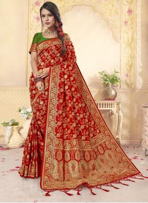 Banarasi Silk Weaving Contemporary Saree in Red