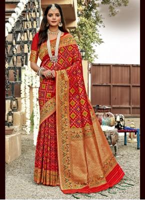 Banarasi Silk Weaving Designer Saree in Red