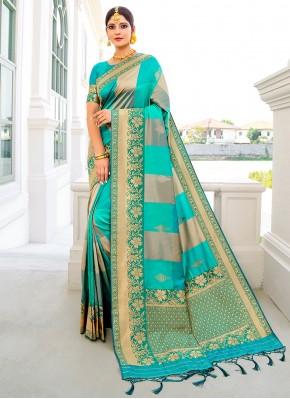 Banarasi Silk Weaving Designer Traditional Saree in Blue