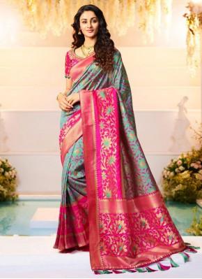 Banarasi Silk Weaving Grey and Pink Half N Half  Saree