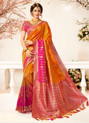 Banarasi Silk Weaving Hot Pink and Mustard Silk Saree
